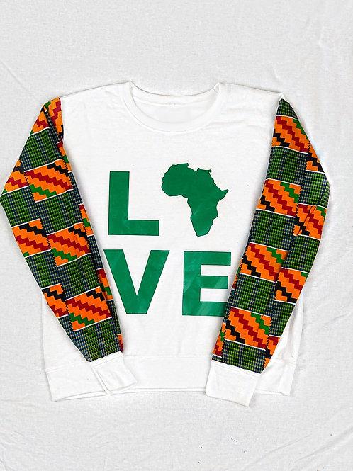 (White/Green) Love Africa Sweater