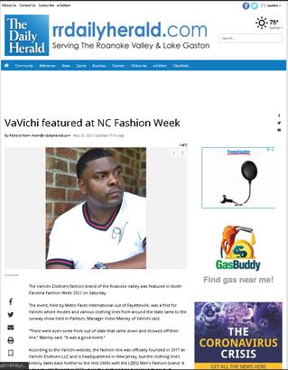 NCFW 21 / VaVichi Featured in Roanoke Rapids Daily Herald