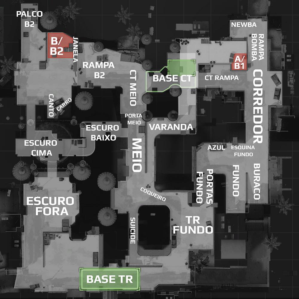 Mapa Dust2 com os Nomes das Posições