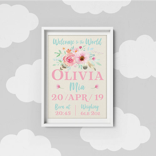 Baby Details Art Print - Pretty Florals