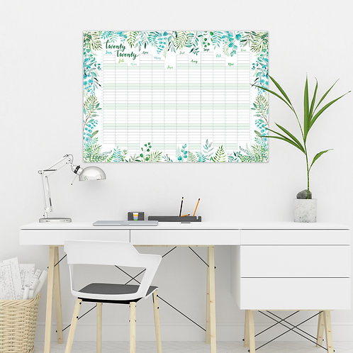 2020 Year Wall Planner - Greenery