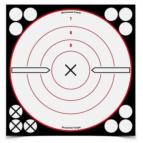 SHOOT•N•C® 8 INCH WHITE / BLACK X BULL'S-EYE, 6 TARGETS