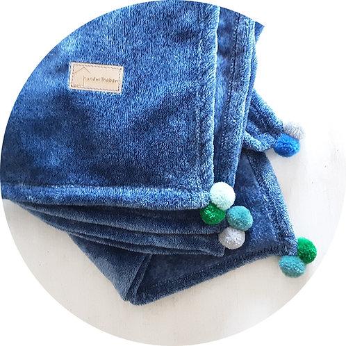 Hundedecken ● Kuschel  Decke Pompon ● Blau