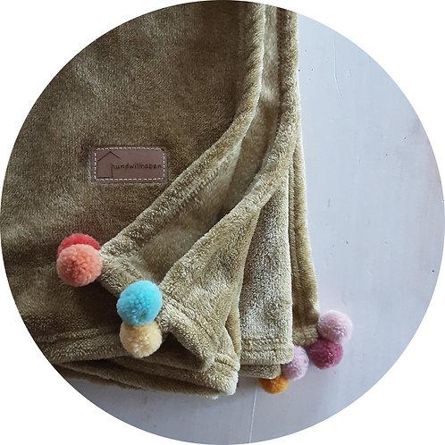 Hundedecken ● Kuschel  Decke Pompon ● Gelb