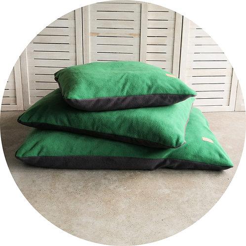 Hundekissen ● Kuschel  Kissen ● FLEECE ● Grün/Anthrazit ● Grösse S–L