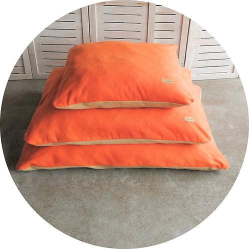 Kuschel Kissen ● FLEECE ●  Orange/Camel● Grösse S–L