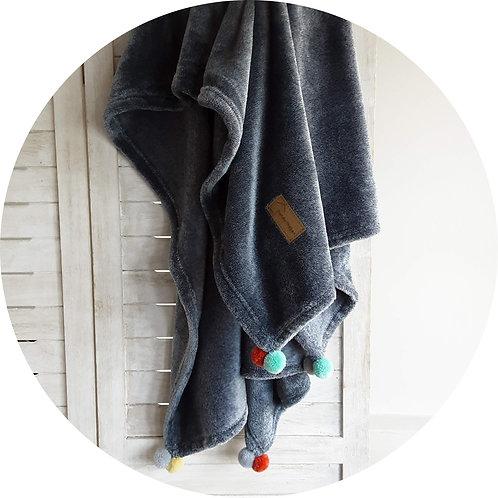 Hundedecken ● Kuschel  Decke Pompon ● Grau
