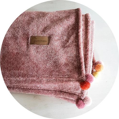 Hundedecken ● Kuschel  Decke Pompon ● Rosé