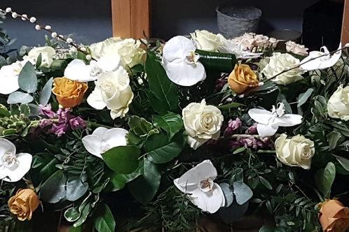 Orchid and Rose Coffin Spay