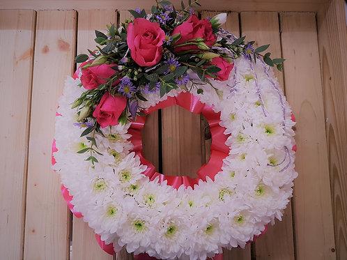 Chrysanthemum Based Wreath with Top-spray