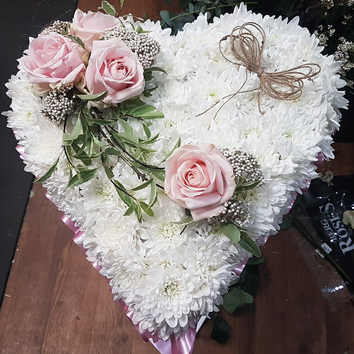 Chrysanthemum Based Heart with Top-spray  From £45.00