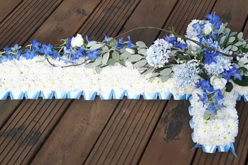 Luxury Based Cross with ribbon edging and top-spray