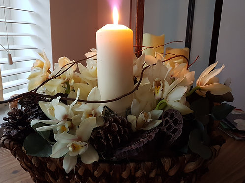 Orchid Candle Table Design in basket