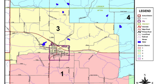East Union Community School District map with town enlarged