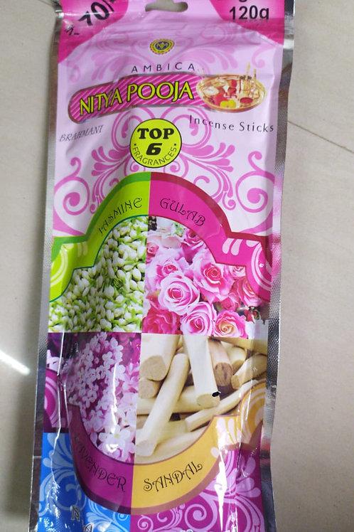 Ambica Nitya Puja - Incense Sticks - Top6 Fragrances (20gx6 - 120g)