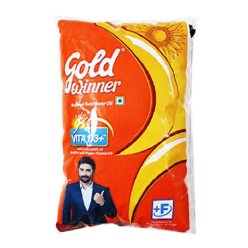 Gold Winner Refined - Sunflower Oil, 1 ltr Pouch