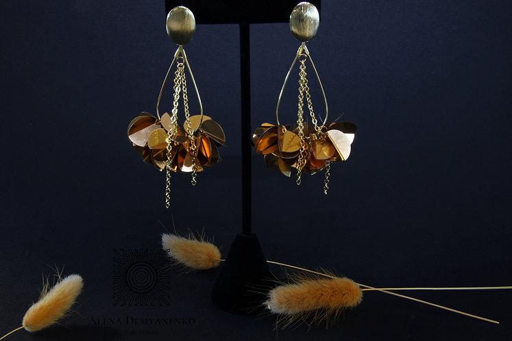 Серьги Лепестки золотые (коллекция)