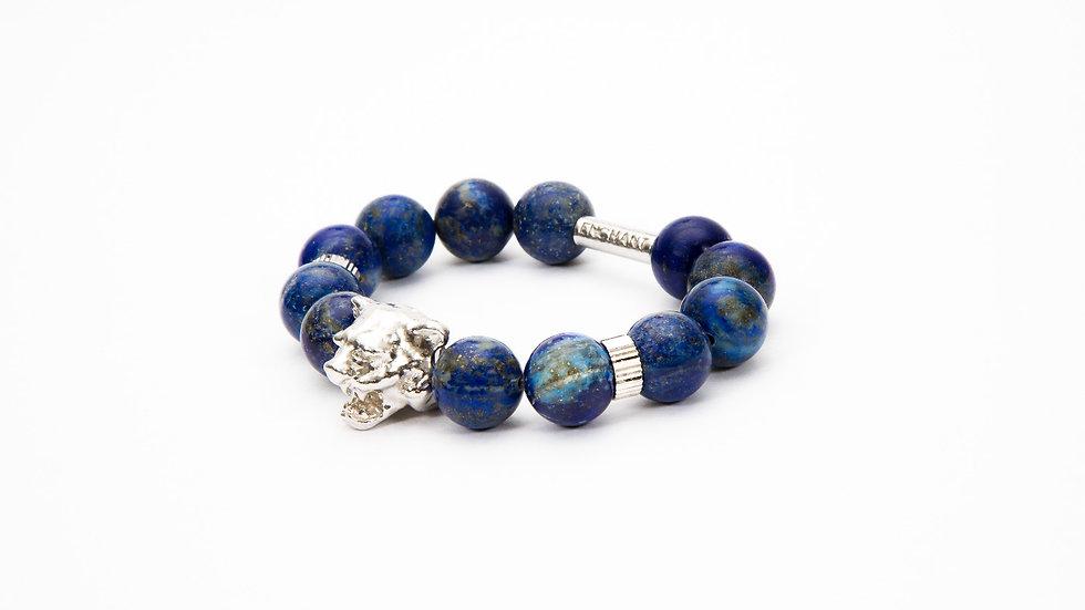 Tiger Head White Gold Blue Lapis Lazuli