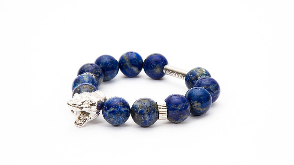 Serpent Head White Gold Blue Lapis Lazuli