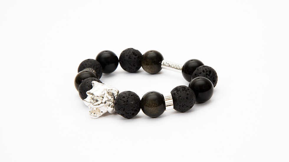 Tiger Head Silver Black Obsidian Variant