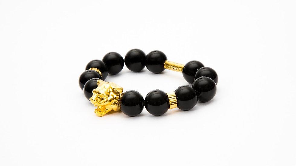 Tiger Head Gold Black Onyx