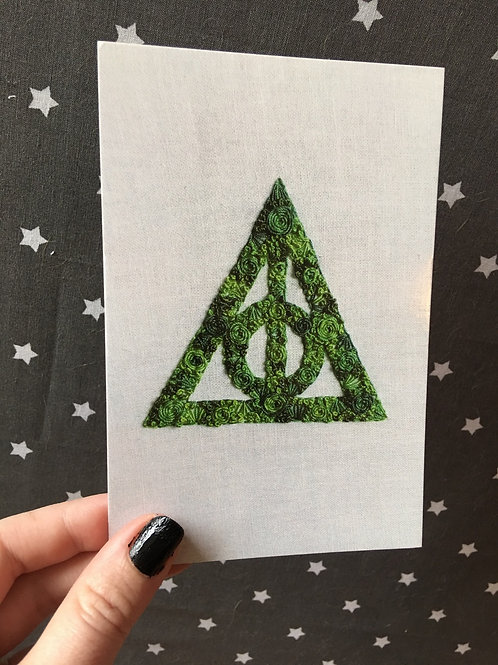 Floral Pop Deathly Hallows 4x6 Embroidery Print