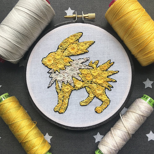 "Floral Pop Jolteon Original 4"" Embroidery Art"