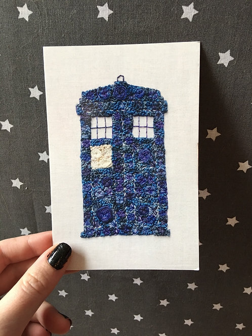 Floral Pop TARDIS 4x6 Embroidery Print