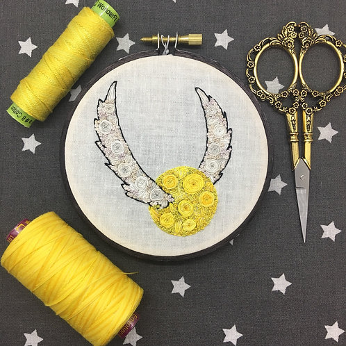 "Floral Pop Golden Snitch Original 4"" Embroidery Art"
