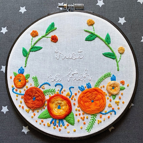"Trust No Bitch 6"" Original Floral Embroidery"