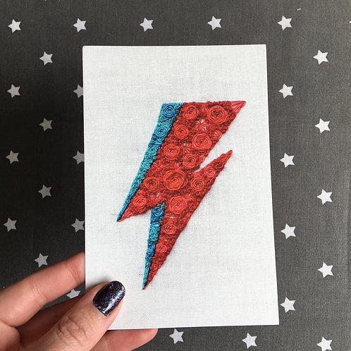 Floral Pop Bowie Bolt 4x6 Embroidery Print