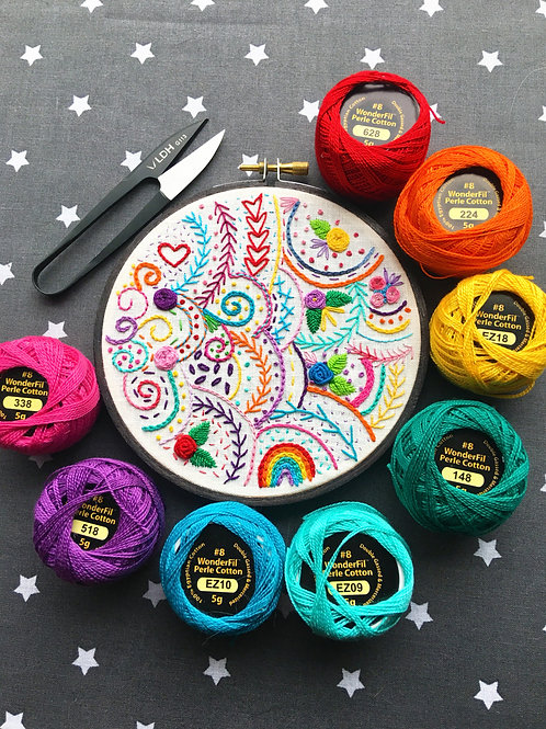"5"" Rainbow Embroidery Sampler Original Wall Decor"