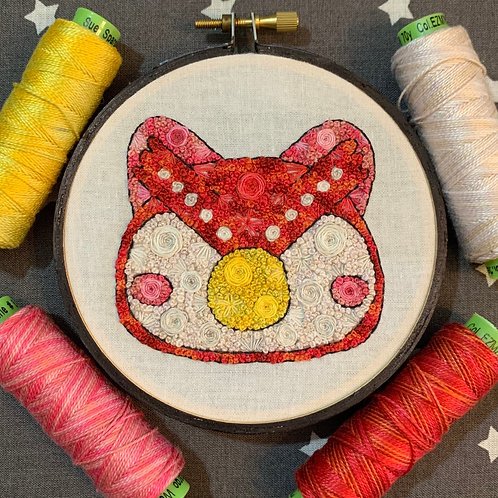 "Floral Pop Animal Crossing Celeste Original 4"" Embroidery Art"