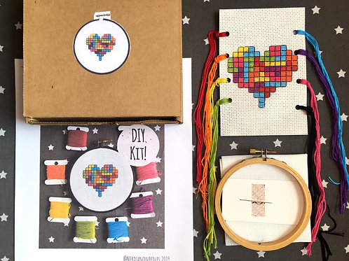 Rainbow Tetris Heart DIY Cross-Stitch Kit