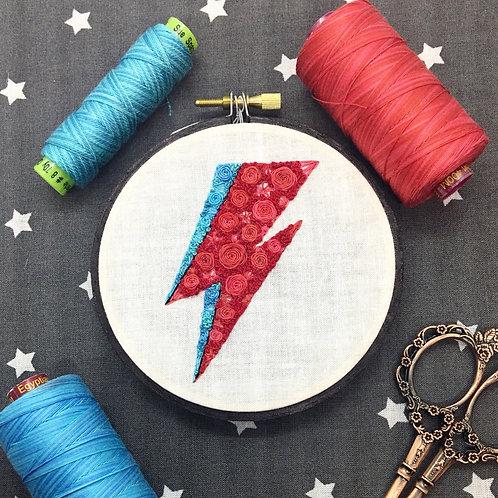 """Floral Pop Bowie Bolt Original 4"""" Embroidery Art"""