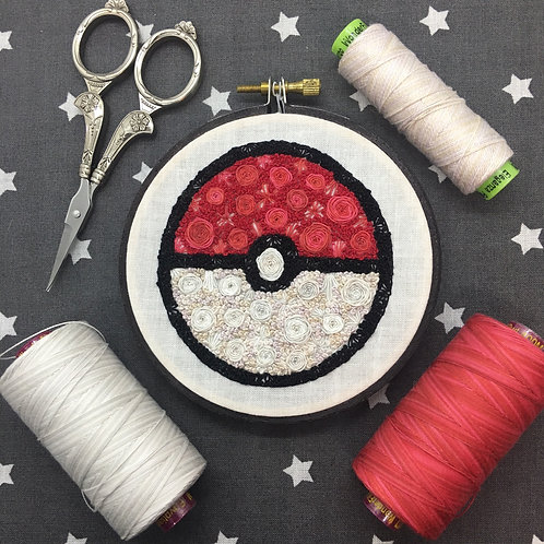 "Floral Pop Pokeball Original 4"" Embroidery Art"