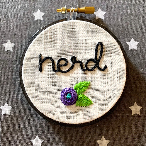 "Nerd 3"" Original Floral Embroidery"