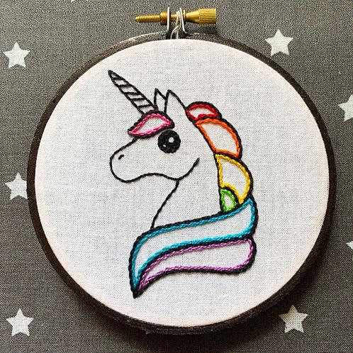 "Rainbow Unicorn 4"" Original Embroidery"