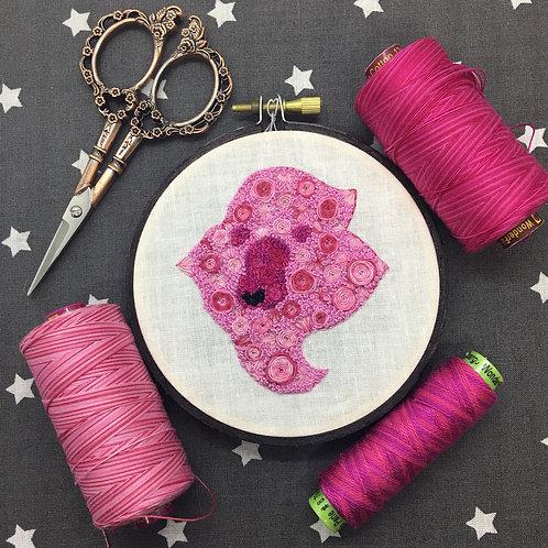 """Floral Pop Lion Original 4"""" Embroidery Art"""