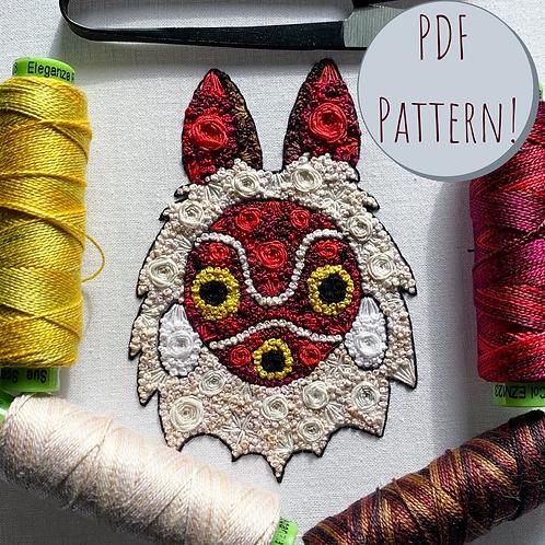 Floral Pop Mononoke PDF Embroidery Pattern