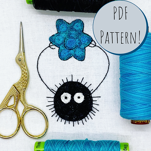 Floral Pop Soot Sprite PDF Embroidery Pattern