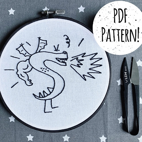 Trogdor Embroidery PDF Pattern