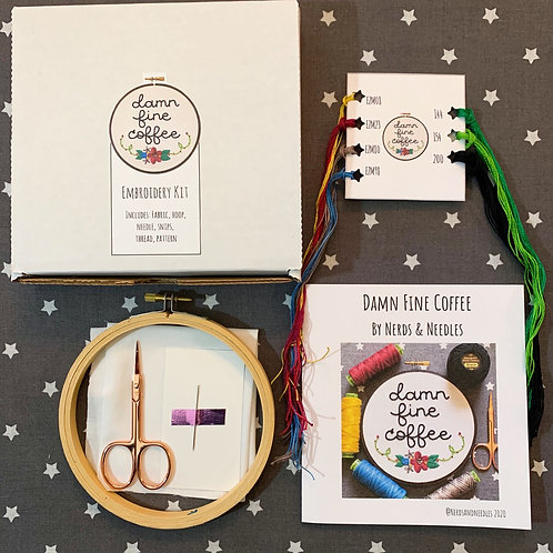 Damn Fine Coffee DIY Embroidery Kit