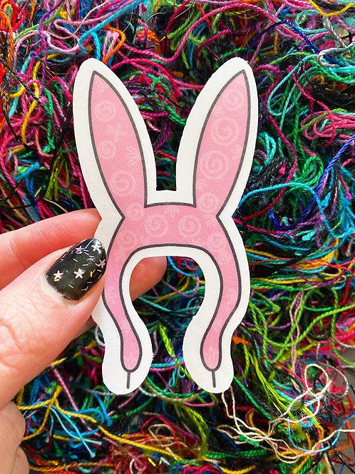 Floral Pop Bunny Ears Glossy Sticker