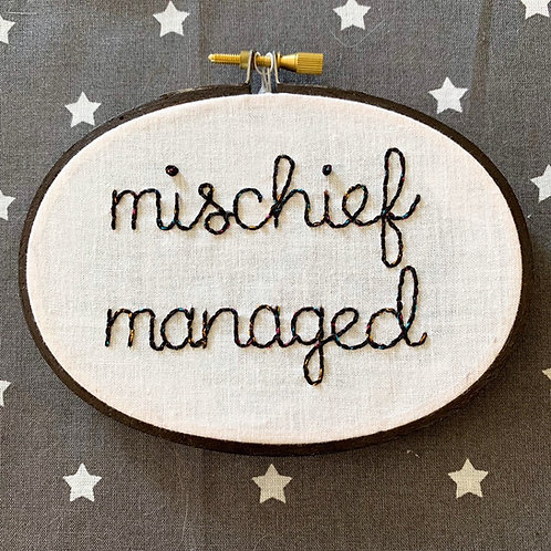 "Mischief Managed 3.5x5"" Original Embroidery"