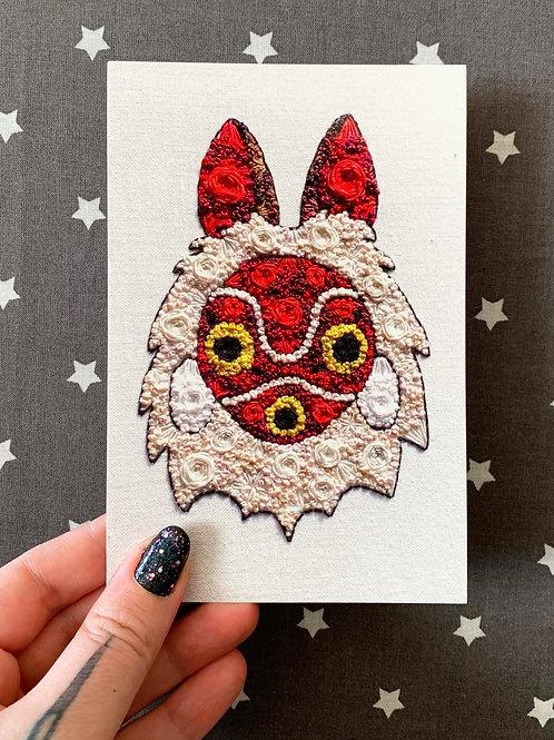 Floral Pop Princess Mononoke San 4x6 Embroidery Print