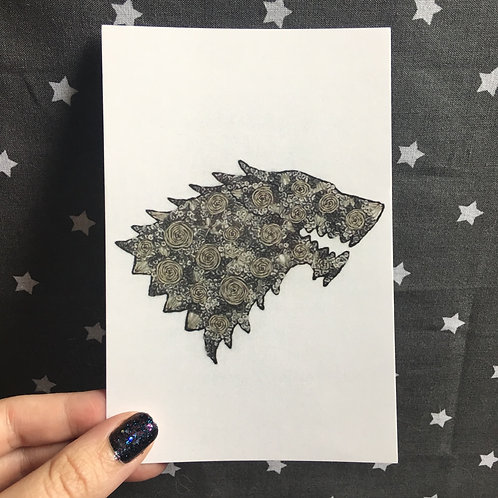Floral Pop Stark Direwolf 4x6 Embroidery Print