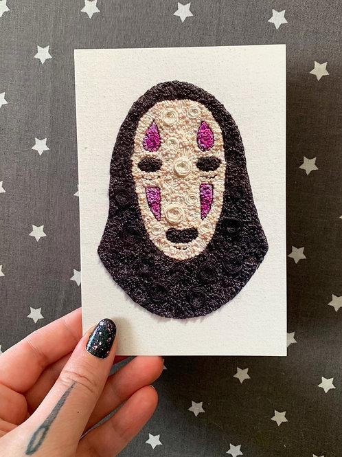 Floral Pop No Face Kaonashi Spirited Away 4x6 Embroidery Print