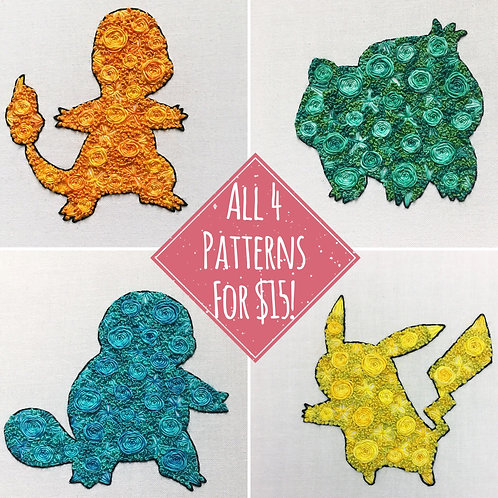 Floral Pop Pokemon Kanto Starters PDF Pattern
