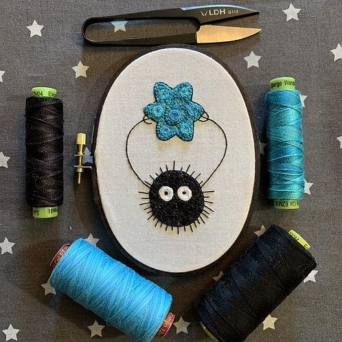 "Floral Pop Soot Sprite Original 3.5""x5"" Embroidery Art"